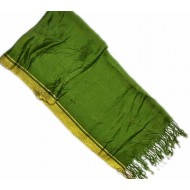Green Pashmina With Golden Border Hijab For Women