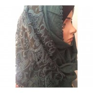 Half Half Cotton Shimmery Lace Hijab