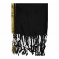 Black Pashmina With Golden Border Hijab For Women