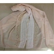 Cotton maxi hijab with lace and stone work