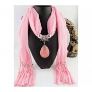 Ladies Cotton Scarf with attached Pendant