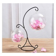 Stand Hanging Flower Vase with 2 Glass Ball Shape