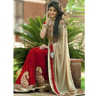 Red And Cream Georgette Saree For Women (P)