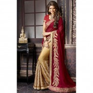 Maroon And Golden Georgette Saree For Women (P)