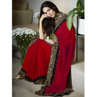 Red Lace Work Saree With Sequence Work Blouse (P)