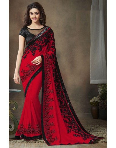 Red Soft Georgette Party Wear Saree for Women(p)