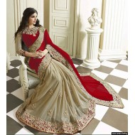 Georgette Red and Golden Saree for Women (p)