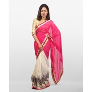 Georgette Designer Party Saree - Pink and Off White (P)
