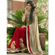 Bisque and Red Georgette Saree for Women (P)