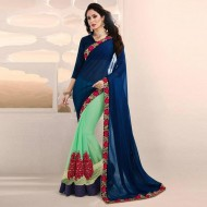 Navy Blue and Lime Georgette Saree for Women (P)