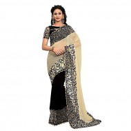 Black and Sandy Brown Georgette Saree for Women (p)