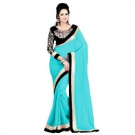 Cyan Georgette Saree For Women (p)