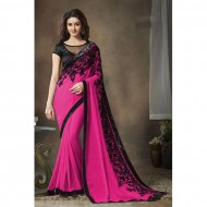 Hot Pink Embroidered Georgette Saree for Women (p)