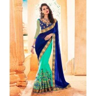 Royal Blue and Turquoise Georgette Saree for Women (p)