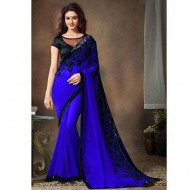 Royal Blue Designer Georgette Party Wear Saree(p)
