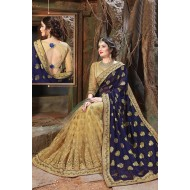 Georgette Navy And Beige Color Embroidered Saree With Unstitched Blouse(p)