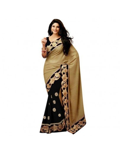 Black And Golden Georgette Saree For Women(p)