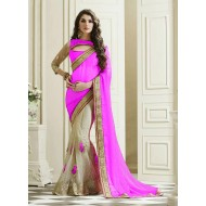 Georgette Pink and White Saree for Women(p)