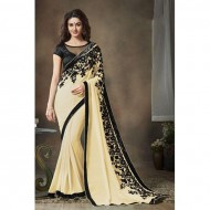 Beige Embroidered Georgette Saree for Women(P)