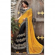 Pink Cats Pink Cats Yellow and Black Embroidery Georgette Saree for Women