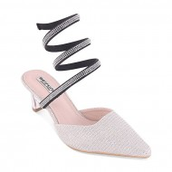Style and Fashion Silver Artificial Leather Heeled Sandal For Women