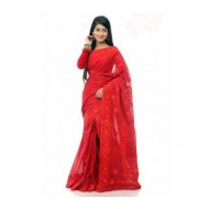Red Pure Muslin Silk Embroidery Sari