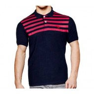 Black and Red Stripe Polo Shirt for Men
