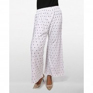 18 Degree Cotton Casual Palazzo - White and Black Dotted