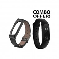Xiaomi Mi Band 2 Smart Watch and Mi Band 2 Waistband Metal Leather Strap Belt For Mi Band 2
